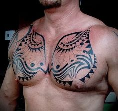 Tribal tattoo on the chest of a man