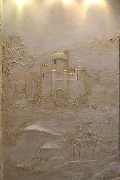 """барельеф """"пейзаж со старым замком"""" - Скульптура и лепка - Лепные панно и барельефы"""