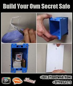 Build Your Own Secret Safe At Home with a few inexpensive materials. Need a hiding place that only you have access to. Secret Hiding Spots, Secret Safe, Hidden Spaces, Hidden Rooms, Hidden Compartments, Secret Compartment, Secret Storage, Hidden Storage, Hidden Shelf