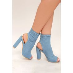 Carlotta Denim Peep-Toe Booties ($48) ❤ liked on Polyvore featuring shoes, boots, ankle booties, blue, ankle high boots, blue booties, peep-toe boots, blue peep toe booties and peep toe booties
