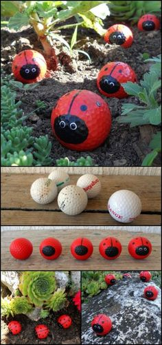 Golf Ball Ladybugs! Got some old golf balls at home? Then recycle them and make a cute decoration for your garden! Painting golf balls to look like ladybugs is easy so it's a great project to do with kids. Just don't forget to wear an appropriate mask when you're spray painting the golf balls. ;) Is this going to be your next family fun activity? by Mopar Mo #artsandcraftsforkidstodoathome