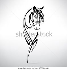 Silhouette of the head of a horse