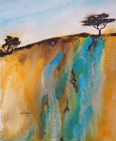 An abstract landscape using watercolors and acrylic ink. I like to create abstract landscapes using ideas from the landscape around me. Abstract Landscape Painting, Watercolor Landscape, Abstract Watercolor, Landscape Art, Landscape Paintings, Abstract Art, Art Paintings, Seascape Paintings, Landscape Architecture