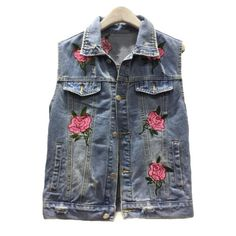 Retro Floral Embroidered Lapel Collar Sleeveless Ripped Denim Vest ($41) ❤ liked on Polyvore featuring outerwear, vests, collared vest, lapel vest, retro vest, denim waistcoat and vest waistcoat