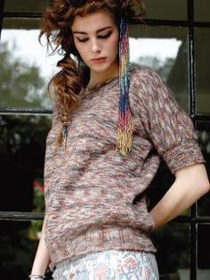 Amaranth - Knit this womens stocking stitch loose fitting tee from Simple Shapes Purelife Revive and Summerspun, designed by Sarah Hatton using the gor...
