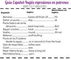 Hama Style & Amigurumis: Guía de términos y abreviaturas ESPAÑOL-INGLÉS para CROCHET