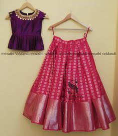 Kids blouse designs - Beautiful pink color designer lehenga and purple color peplum top Peplum top with hand embroidery kasu work on neck line 13 April 2018 Lehenga Designs, Half Saree Designs, Saree Blouse Designs, Frock Design, Baby Dress Design, Kids Dress Wear, Kids Gown, Kids Wear, Frocks For Girls