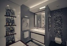 modern grey bathroom apartment with unique mode