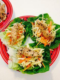 Chicken Apple Carrot Roman wrap . With lemon honey dressing