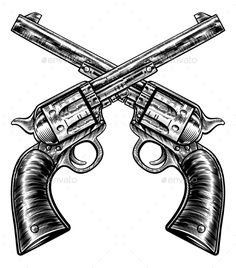Crossed Pistol Gun Revolvers Vintage Woodcut Style