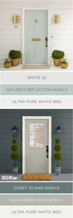 Cleaning up the exterior of your home in time for spring doesn't have to be hard. You can raise your house's curb appeal in just a few easy steps. These two color palettes from BEHR Paint use traditio (Porch Step Curb Appeal) Exterior Gris, Exterior Color Palette, Exterior Paint Colors For House, Paint Colors For Home, Exterior Design, Paint Colours, Exterior Shutters, Facade Design, Diy Exterior House Painting