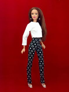 Barbie doll Clothes - White Jacket, Black and White Pants, Shoes, and Earrings by EnchantedStyles on Etsy