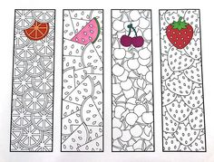 Print and color - Fruit Bookmarks PDF Zentangle Coloring Page