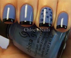 China Glaze Secret Periwinkle with Big Ruby Tattoos and Wet n Wild Black tips