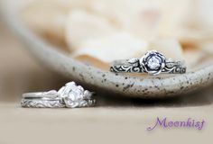 Delicate Rose Engagement Ring Set with White by moonkistdesigns
