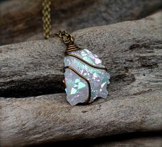 Angel Aura Quartz Necklace - Wiccan Jewelry - Angel Quartz Cluster Necklace - Crystal Jewelry - Rainbow Aura Quartz Jewelry - Boho Necklace