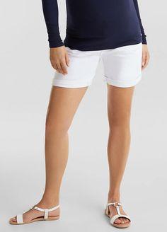 Esprit - White Denim Over Bump Shorts Maternity Pads, Maternity Shorts, Maternity Wear, White Denim, White Shorts, Denim Shorts, Nursing Pads, Belly Bands, Off Duty