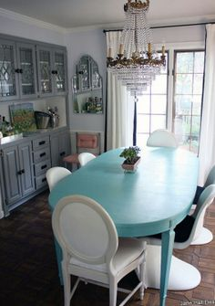 Romantic style dining room with Aqua Blue painted table