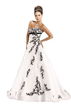 JoyVany Beaded Long Wedding Dresses Black Lace Applique Wedding Gown with Train IvoryBlack Size 10 -- You can find out more details at the link of the image.