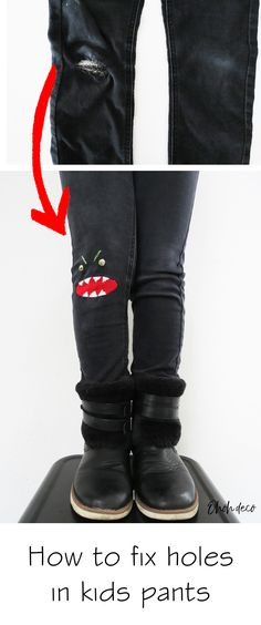 Hottest Snap Shots sewing pants hole Thoughts How to fix holes in kids pants - Ohoh Deco - DIY knee monster patch Kids Pants, Boys Jeans, Upcycled Crafts, Upcycled Clothing, Couture, Patch Pants, Invisible Stitch, Sewing Pants, Patch Kids