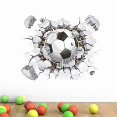 vivid 3D Football Soccer Playground Broken Wall Hole window view home decals wall sticker for boys room sports decor mural-in Wall Stickers from Home & Garden on Aliexpress.com | Alibaba Group