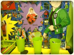 """Encourage children to the writing area by having things of interest as part of the provision ("""",) good ideas for boys Writing Corner, Writing Area, Writing Station, Pre Writing, Kids Writing, Writing Table, Eyfs Classroom, Superhero Classroom, Classroom Displays"""