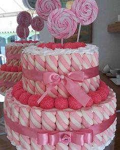 birthday – Sweet World Ideas Girly Cakes, Cute Cakes, Girl Baby Shower Decorations, Birthday Decorations, Marshmallow Cake, Bar A Bonbon, Dessert Bar Wedding, Sweet Trees, Birthday Cake
