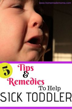 How to help your sick toddler. Here are remedies and tips to help with food to feed them and how to treat the symptoms they have. From colds to fever and congestion. What works and when to call the doctor. Baby Has Fever, Toddler Fever, Toddler Cough, Sick Toddler, Kids Fever, Sick Baby, Toddler Sleep, Sick Kids, Kids Sleep