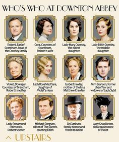 Who's who in Downton Abbey season 4. characters upstairs and downstairs