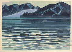 Hashimoto, Okiie Yamako B (山湖B) – Mountain lake B (Lake Chuzenji) Paper size: 58 x 41.5 cm. Self-printed in 1950s (probably). Print details in pencil in the bottom margin. Saru Gallery - Japanese prints & paintings