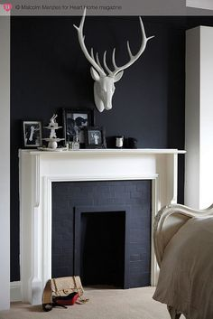 An Edwardian House Full of Quirky Art — Heart Home White Fireplace, Faux Fireplace, White Mantel, Fireplaces, Fireplace Ideas, Classic Fireplace, Paint Fireplace, Fake Walls, Magazine Deco