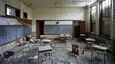 classroom at St. Margaret Mary School, Detroit (Yves Marchand and Romain Meffre) Modern Ruins of Abandoned Detroit (PHOTOS) - weather.com