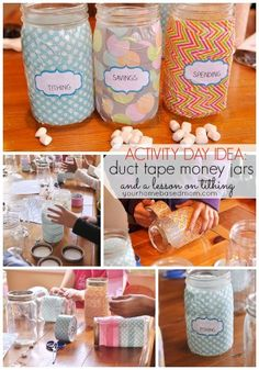 Duct Tape Money Jars and a Lesson on Tithing}Activity Day - your homebased mom Activities For Girls, Church Activities, Primary Activities, Activity Day Girls, Activity Days, Church Games, Donation Jars, Mason Jar Bank, Mason Jars