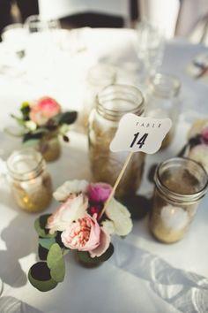 Eclectic Mason Jar & Floral Centerpiece | Sarah Kathleen Photography