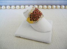 RUBY RING w Pave' Gold-Washed STERLING Silver Size 5 Vintage on Etsy $45.99 by pegi16