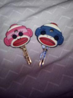 My keys with sock monkeys!!! Thanks to Alyssa K! <3