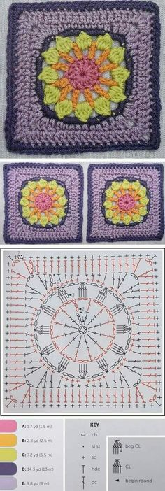 Today we are going learn how to crochet a beautiful daisy in a square. The tutorial is delivered fully. Meaning that all types of instructions are available to you. We have a step by step written pattern just below the image and also a chart pattern which Grannies Crochet, Crochet Daisy, Granny Square Crochet Pattern, Crochet Blocks, Crochet Diagram, Crochet Chart, Crochet Squares, Crochet Motif, Crochet Stitches