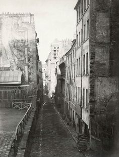 Paris before Haussmann renovation... Charles Marville, Rue St. Nicolas du Charonnet, a Medieval street near the Pantheon, 1850s/ Public Domain