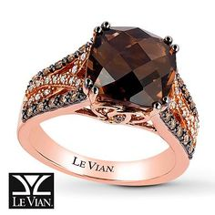 Le Vian Chocolate Quartz 1/3 Ct Tw Diamonds 14K Gold Ring ...