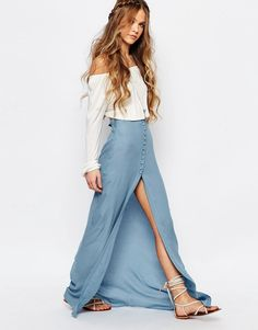 Image 1 of Honey Punch Festival Maxi Skirt With Button Front