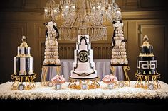 Stunning Gold, Black and Ivory Cakes