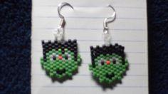 Size 10 Delica Bead Brick Stitch  Frankenstein Earrings on Etsy, $2.81