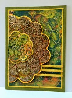 Created by Louise Healy with Dreamweaver Stencils and embossing paste, Stampendous Creative Palette and Embossing Enamels