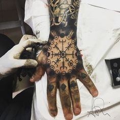#runetattoo hashtag on Instagram • Photos and Videos Cool Symbols, Rune Tattoo, Viking Designs, Viking Tattoos, Runes, Hand Tattoos, Vikings, Finger, Ink