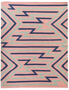 Want a punch of color in your home? Add this rug or runner to the mix! Love the pink and navy.