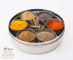 Indian Spice Tin - Masala Dabba - Spice Tin - Spices Set - Gift for Foodie - Gift for Chef - Award Winning Garam Masala - Spice Rack Box Spice Set, Spice Tins, Spice Racks, Spice Storage, Tandoori Masala, Garam Masala, Masala Chai, Indian Spice Box, Ras El Hanout