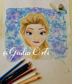 Drawn by me (Giulia Osti) Check out other creations on my blog!   #illustration #frozen #elsa #watercolor