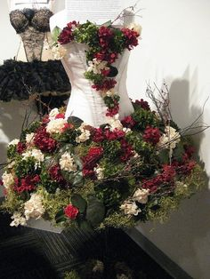 Image result for flower arrangement made to look like a dress