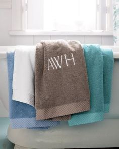 I will always know which towel is mine with these  monogramed Garnet Hill Supreme Towels!!