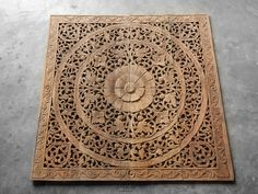 Wall Decor Paneling. Teak Wood Wall Plaque. Carved Floral Design, Handcrafted Of Tropical Reclaim Teak Wood From Thailand. (4'X4'Ft Natural)